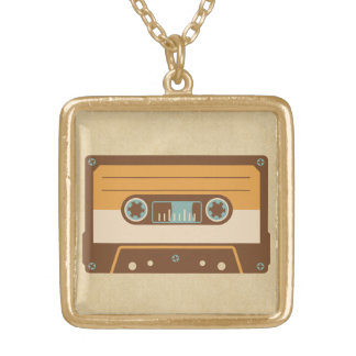 Old School Analog Cassette Tape Gold Plated Necklace