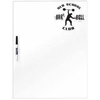 Old School Barbell Club Dry Erase White Board