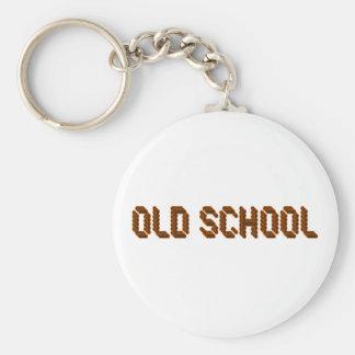 Old School Basic Round Button Keychain
