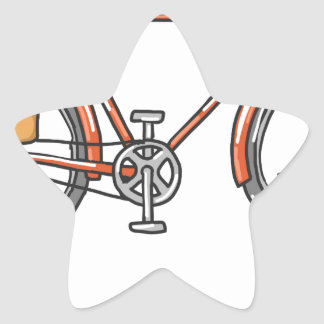 Old School Bicycle Sketch Star Sticker