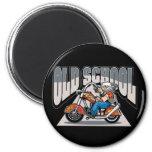 Old School Biker 2 Inch Round Magnet