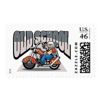 Old School Biker Postage Stamp