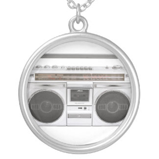 Old School Boombox Radio Silver Plated Necklace
