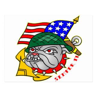 Old School Bulldog Flag Semper Fi Postcard
