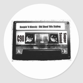 Old School Cassette Classic Round Sticker