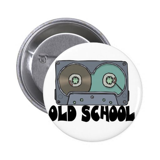 old school cassette tape pinback button