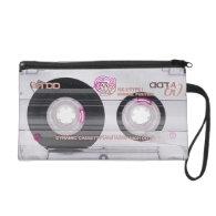 Old school cassette tape wristlet purse