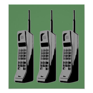 Old School Cell Phones Poster