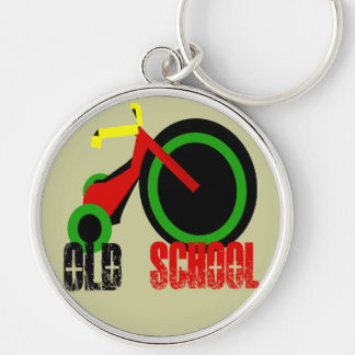Old School - Change background colors Silver-Colored Round Keychain
