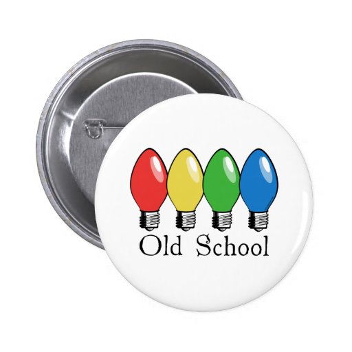 Old School Christmas Tree Lights Button