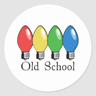 Old School Christmas Tree Lights Classic Round Sticker