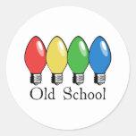 Old School Christmas Tree Lights Round Stickers