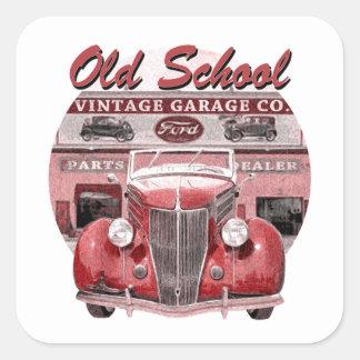 Old School Classic Car Square Sticker