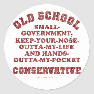 Old School Conservative Round Sticker