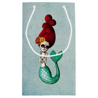 Old School Day of The Dead Mermaid Small Gift Bag