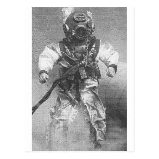 Old school diver black and white postcard