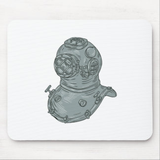 Old School Diving Helmet Drawing Mouse Pad