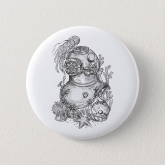 Old School Diving Helmet Tattoo Pinback Button