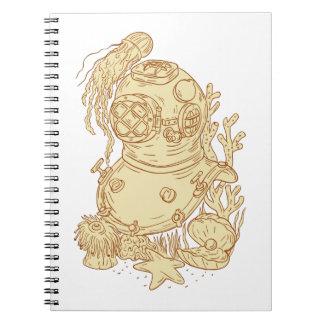 Old School Diving Helmet Underwater Drawing Notebook