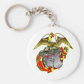 Old School Eagle Anchor & Bulldog Basic Round Button Keychain
