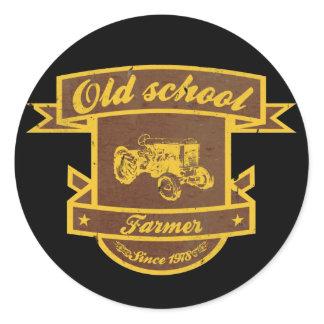 Old school farmer classic round sticker