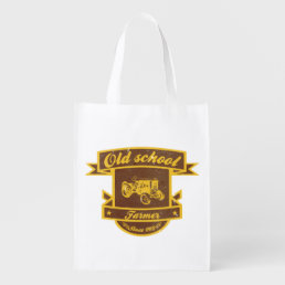 Old school farmer reusable grocery bag