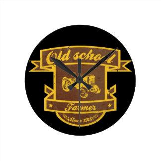 Old school farmer round clock