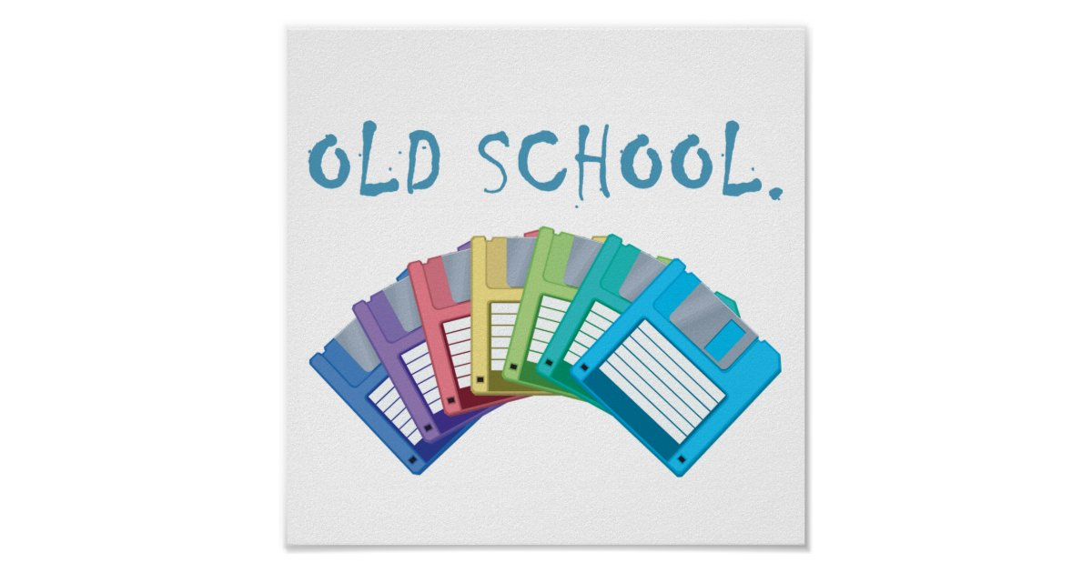 Old school floppy disks poster zazzle - Uses for old floppy disks ...