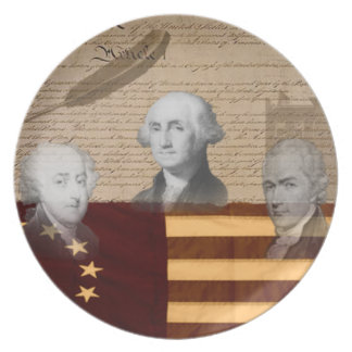 OLD SCHOOL FOUNDING FATHERS MELAMINE PLATE