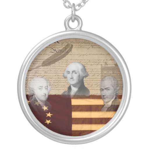 OLD SCHOOL FOUNDING FATHERS ROUND PENDANT NECKLACE