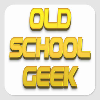 Old School Geek Gold Square Sticker
