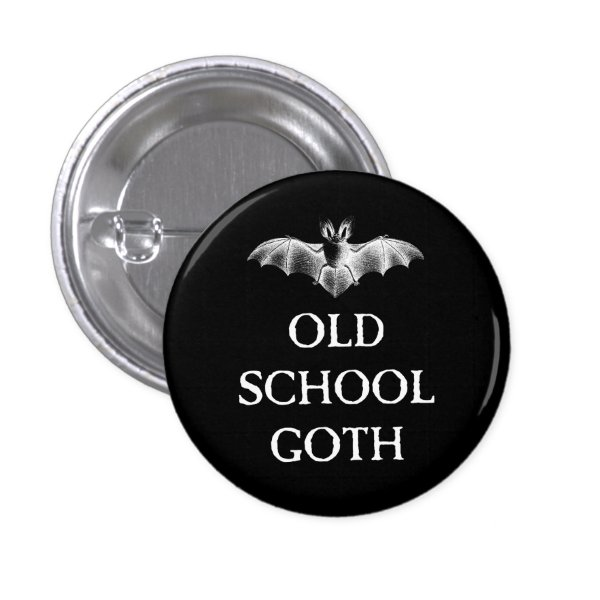 Old School Goth Vampire Bat Pin Button Badge