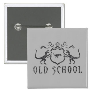Old School Heraldic Dinosaur Pinback Button