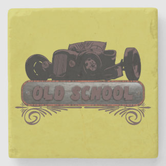 Old School Hot Rod Stone Beverage Coaster