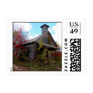 Old School House in Autumn Postage