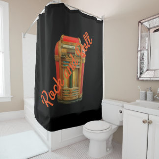 Old School Jukebox Rock and Roll Shower Curtain