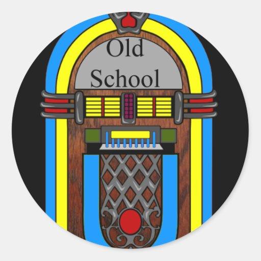Old School Jukebox Round Stickers