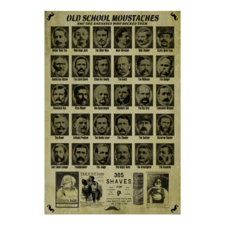 Old School Moustaches - Good Humor for Bars n More Poster