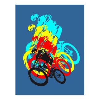 Old school MTB / Trials bike wheelie Postcard