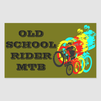 Old school MTB / Trials bike wheelie Rectangular Sticker