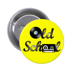 Old School Music Media Round (yellow) Button at Zazzle