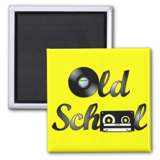 Old School Music Media Square (Yellow) Magnet