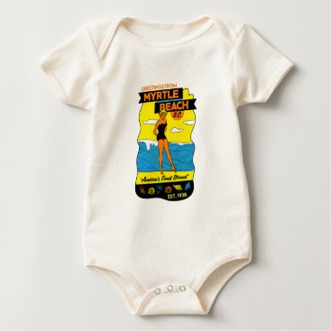 Beach Themed Old-School Myrtle Beach Postcard Baby Bodysuit