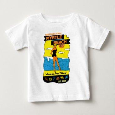 Beach Themed Old-School Myrtle Beach Postcard Baby T-Shirt