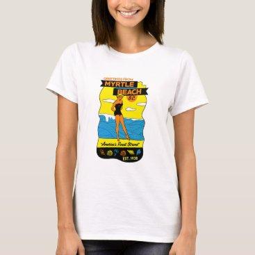 Beach Themed Old-School Myrtle Beach Postcard T-Shirt