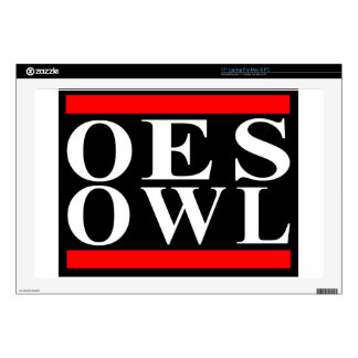 """Old School OES OWL design Decal For 17"""" Laptop"""