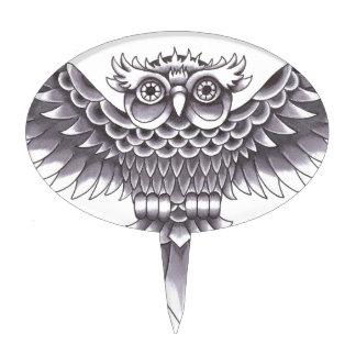 Old School Owl Tattoo Design Cake Topper