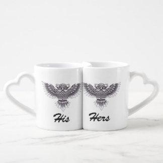 Old School Owl Tattoo Design Couples Coffee Mug