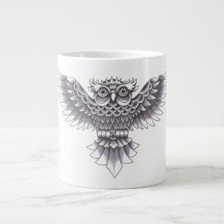 Old School Owl Tattoo Design Large Coffee Mug