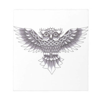 Old School Owl Tattoo Design Note Pad